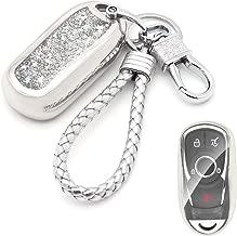 Senauto Quicksand Full Cover Key Fob Cover Case Key Chain for 2017 2018 2019 Buick Encore Envision Lacrosse Regal (Silver)