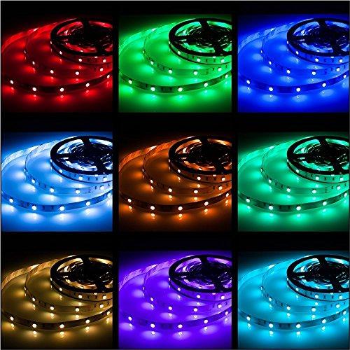 Rxment RGB LED Strip Lights with Remote 5 Meter 16.4 Foot 5050 RGB 150LEDs Full Kit, Blue LED Light...