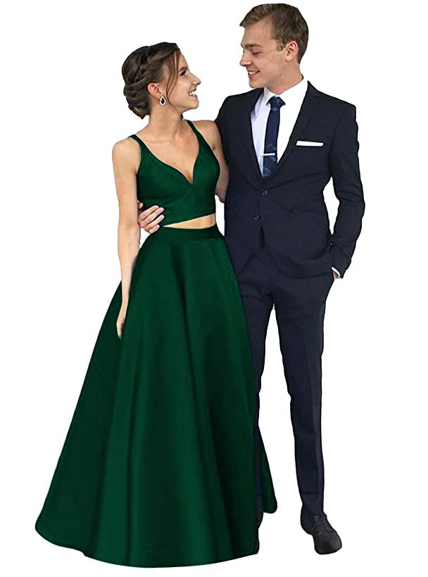 Dymaisei Women's V Neck Two Pieces Satin Prom Dress 2019 Long Formal Party Dresses
