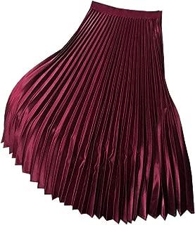 YOUMU Vestido para Mujer con Falda Plisada de satén de Cintura Alta elástica