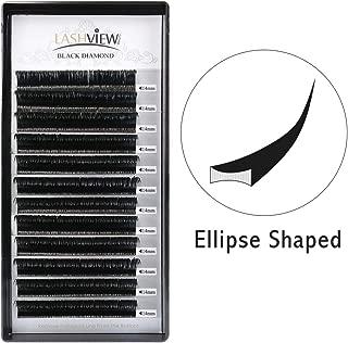 LASHVIEW Ellipse Eyelash Extensions 0.15mm D Curl 14mm Flat Lash Extension Flat Eyelash Extension Mink Eyelashes Lashes Extension Salon Use Mink Lashes Extensions Black Mink False Lashes