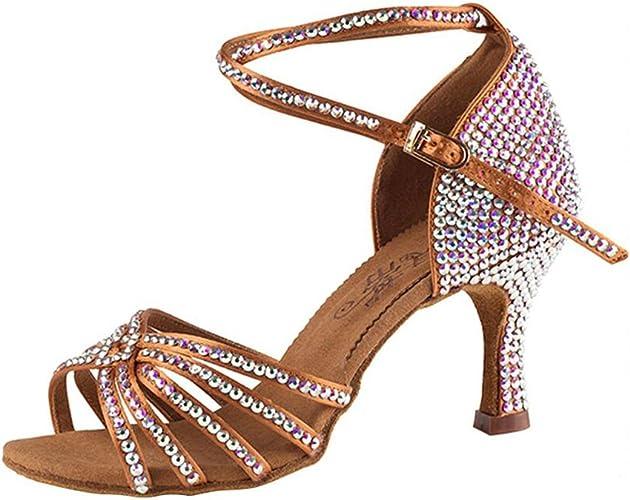 XUE Chaussures Latino pour Femmes Chaussures de Salle de Bal Satin Sandale Strass Talon évasé Chaussures de Danse Pas marron Party & Soirée (Couleur   Une, Taille   36)