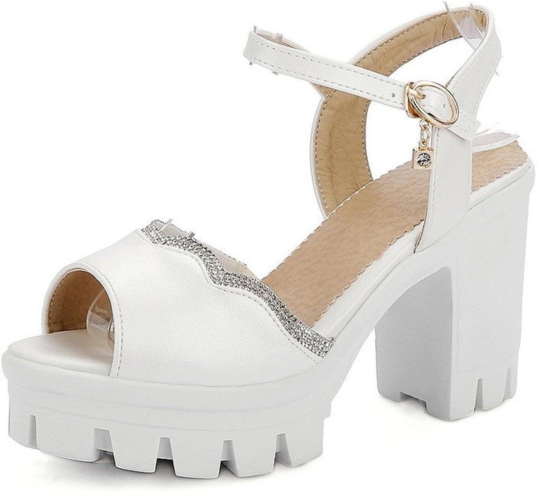 AmoonyFashion Women's Peep Toe High-Heels Soft Material Solid Buckle Heeled-Sandals