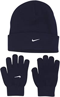 NIKE Cuffed Ribbed Soft Knit Beanie Gloves Set Warm Winter Weather Gear (Navy Blue Embroidered White Swoosh Logos) YOUTH 8-20