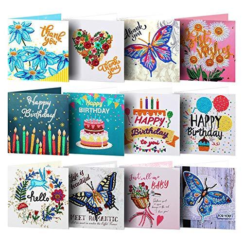 Akaddy 12pcs Diamant-Malerei-Gruß-Karten-spezielle Form-Stickerei für Geburtstag
