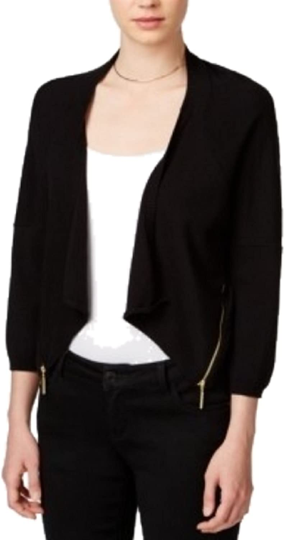 Bar III Women Sleeve Asymmetrical Zip Detail Cardigan
