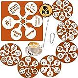 Plantillas de café SOSMAR con 45 patrones, plantillas para Halloween, Navidad, mamá, pap...