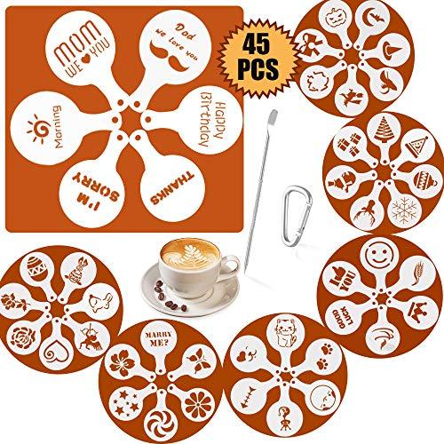 SOSMAR 45 Muster Cappuccino Kaffee Dekorieren Schablonen - MOM We Love U für Muttertag - Ostern/Weihnachten/Halloween/Valentinstag/Hunde/Katze und mehr Schaum Latte Art Barista Dekoration Vorlage