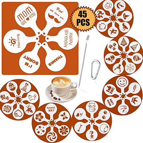 45 Patterns Coffee Stencils, SOSMAR Coffee Barista Stencils Templates- Halloween/Christmas/Mum/Dad/Dog/Cat Stencils for Hot Chocolate, Cappuccino, Cookie Icing, Cupcake Décor