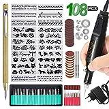 Multifunktionswerkzeug 108PCS, Elektrische Gravierstift DIY Drehwerkzeug mit 24 Schablonen und 82...
