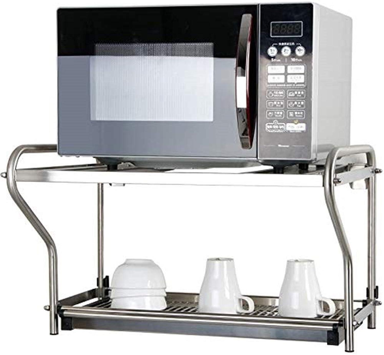 RMJAI Storage Racks Kitchen Shelf Microwave Oven Rack Stainless Steel Wall-Mounted Hanging Rack Double Kitchen Storage Rack (60X35.5X41cm)