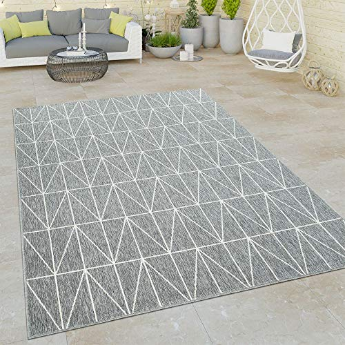 Paco Home Outdoor Indoor Grau Teppich 3D Optik Skandi Look Skandinavisches Design Kurzflor, Grösse:160x230 cm
