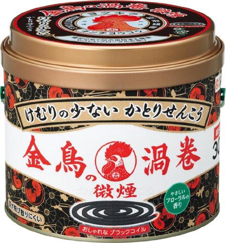 金鳥の渦巻 蚊取り線香 けむりの少ない微煙タイプ 30巻 缶