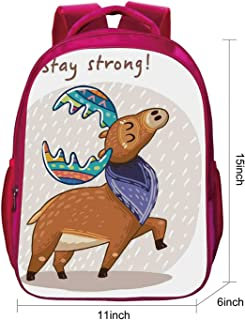 Moose Cute SchoolbagDeer with Scarf and Rainbow Retro Antler Horns Quote Stay Strong Rain Design Bohem for studentMedium