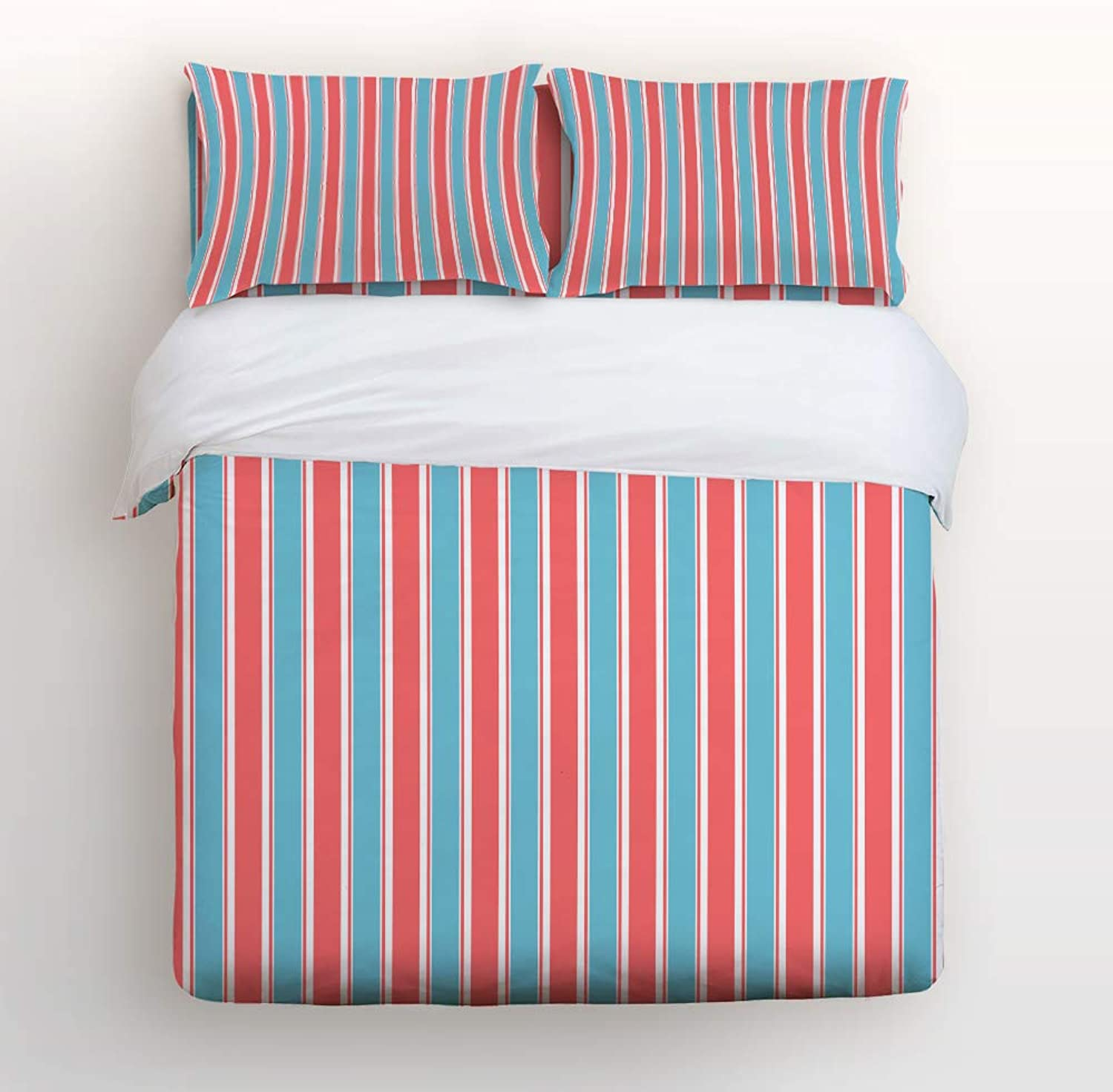 Fandim Fly Bedding Set Twin Size bluee and Red Red Red Stripes