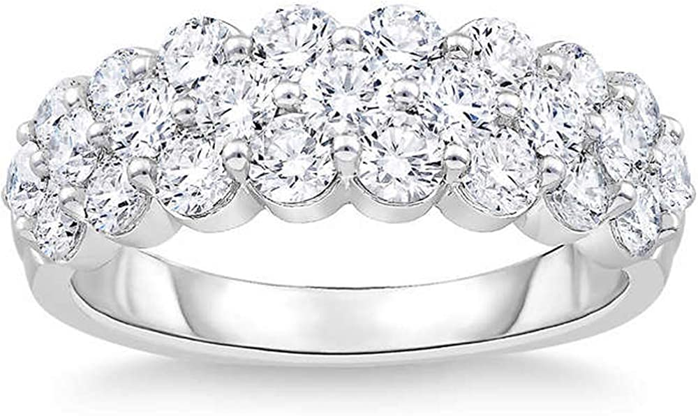 2 Ct Diamond Wedding Wide Anniversary Ring 10k White Gold