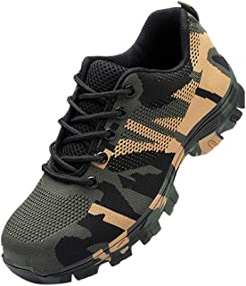 Men/Women Steel Toe Shoes, Industrial Construction Work Safety Shoes Breathable Safety Shoes Camouflage Shoes