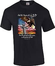 T-ShirtQueen Men's Christian Feel The Power of God Eagle Flag Cross God's Country Religious T-Shirt