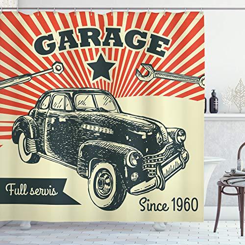 ABAKUHAUS Autos Duschvorhang, 60 Retro-Auto-Pop-Art, Set inkl.12 Haken aus Stoff Wasserdicht Bakterie & Schimmel Abweichent, 175 x 240 cm, Smaragd Orange