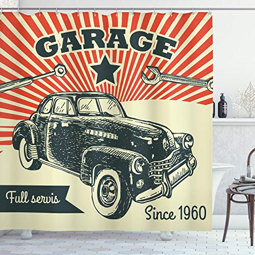 ABAKUHAUS Autos Duschvorhang, 60 Retro-Auto-Pop-Art, Set inkl.12 Haken aus Stoff Wasserdicht Bakterie & Schimmel Abweichent, 175 x 200 cm, Smaragd Orange