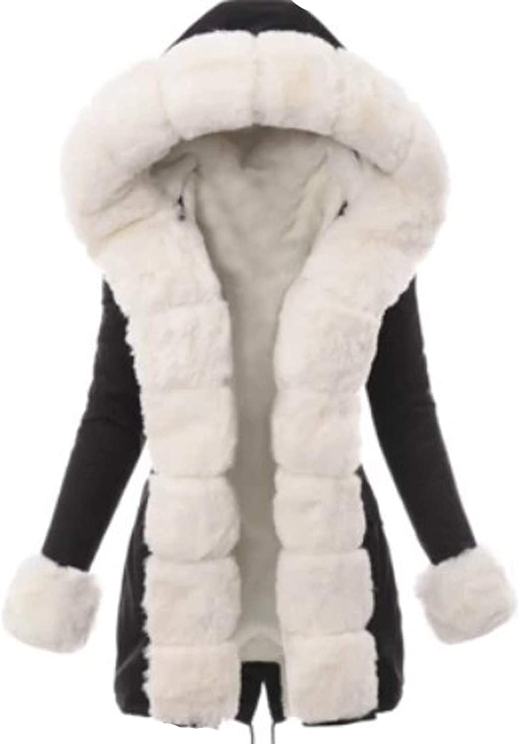 Ladies Tops Women Winter Casual Warm Solid Color Fur Lining Coat Thick Long Jacket Hooded Pockets Overcoat Ropa De Mujer