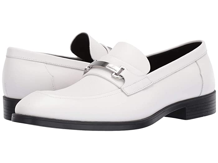 Mens Vintage Style Shoes & Boots| Retro Classic Shoes Calvin Klein Craig White Dress CalfSmall Grid Emboss Mens Slip on  Shoes $70.00 AT vintagedancer.com