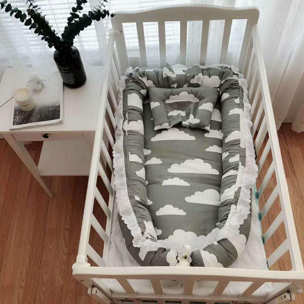 Nid bébé, Enjoyfeel Portable Détachable Baby Tour De Lit De Voyage - 100% Coton Doux et sécurisé - Multifonction Lit Bébé (Gray cloud) Gray Cloud