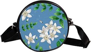 Coosun Umhängetasche mit Jasmin- und handgezeichneten Blättern, rund, Schultertasche für Kinder und Damen