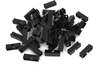 Aexit 50pcs DC3-16P Computer Components 2 Row 16 Pin 2.54MM JTAG Connector for Flat Power Supplies Ribbon Cable