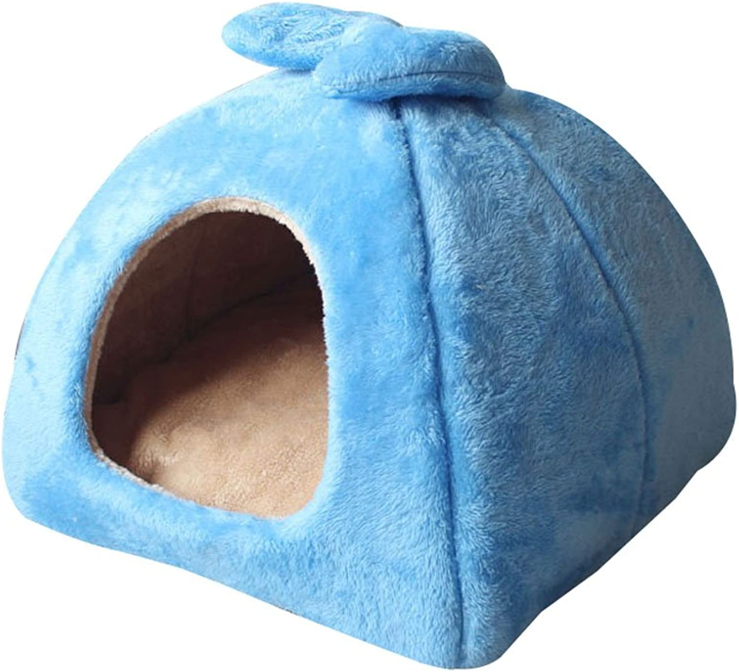 MIAOLIDP Kennel cat litter small and medium dog house Teddy dog house dog bed four seasons winter and summer dualuse yurt Pet supplies (color   bluee, Size   43  43  36cm)