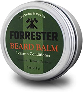 All Natural Beard Balm Conditioner by Forrester - Nourishes, Thickens and Strengthens | Made with Beeswax, Vitamin E, Jojoba Oil | Softens and Conditions Beard & Mustache