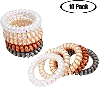 Scrunchies Ponytail holder Hair Ties Laser High Toughness Spiral Phone Cord Coil Traceless Hair Ring Bands Waterproof Hair Ties