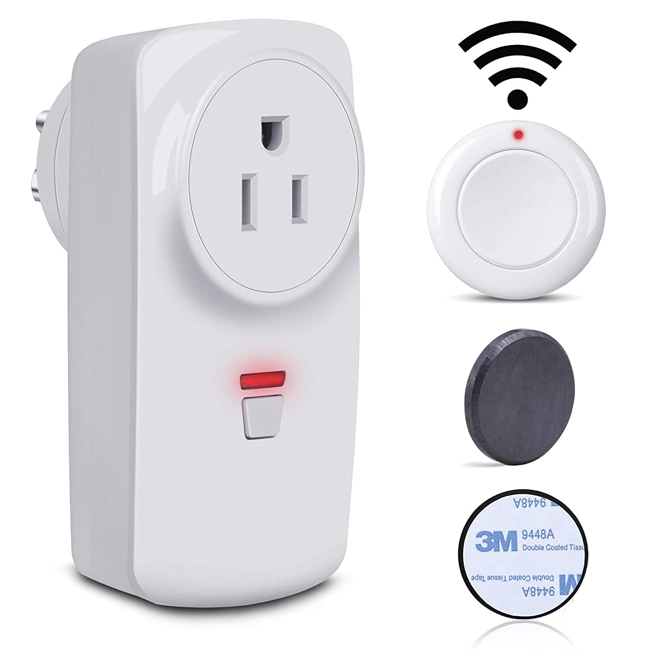 Wireless Remote Control Electrical Outlet Switch for hard to reach lamps,Lights and Household Appliances,Up to 100 ft. Range,Magnetic remote control and metal plate for very easy install