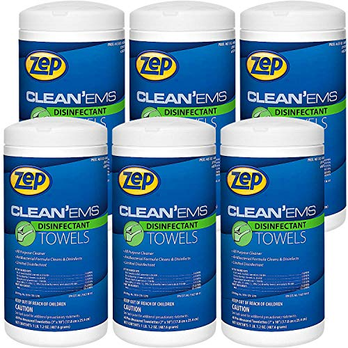 Zep Clean'Ems Disinfecting Wipes 40 Wipes per Container Case of 6 EPA Registered Kills 99.9% of Germs (651301)