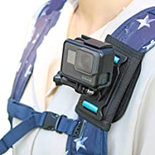 Backpack Shoulder Strap Mount Camera with Adjustable Shoulder Pad and 360 degree Rotating Base Compatible with GoPro Hero 8 7, Hero 6/5/4/3+, Session4/5, OSMO Action, Xiaoyi 4K and Most Action Cameras