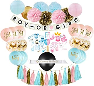 Gender Reveal Party Supplies (75 Pieces) with Photo Props, 36 Inch Reveal Balloon and Sash - Premium Baby Shower Decorations Set - Confetti Balloons, Boy or Girl Banner, Paper Lanterns and Pom Poms