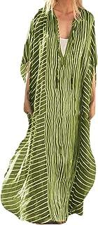 FSSE Women's V-Neck Beach Cover Up Relaxed Beach Dresses Stripe Maxi Long Dress