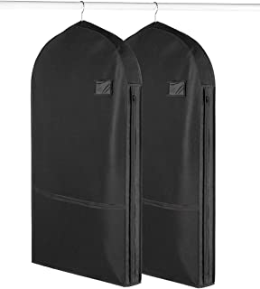 Living Solutions (2 Pack) Deluxe Garment Bags with Pockets for Storage Travel Suits Dresses Uniforms