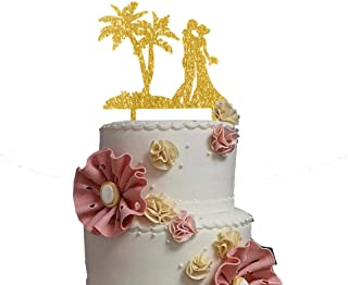Palm Tree With Bride and Groom Couple Wedding Cake Topper, Gold Glitter Wedding Anniversary Celebration Cake Decorations, Party Supplies Elegent Plam Tree Theme Cake Topper