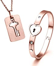 ZLY His & Hers Jewelry Matching Set, Couples Charm Key Necklace Lock Bracelet Set, Personalized Stainless Steel Jewelry Valentines Gift