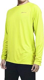 Pretchic Men's Long Sleeve Running T Shirts Sun Protection UPF 50+