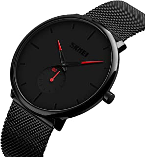 Men's Fashion Watch Simple Casual Analog Quartz Date with Black Milanese Mesh Band Minimalist Wrist Watches