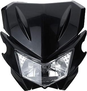 1 2V H4 Lumière de la tête Universelle de Moto pour Dual Sport Street Fighter Dirtbike Durable (Color : Black)