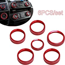 6PCS Air Coditioner Cover Trim for Ford F150 XLT 2016 2017 2018 Aluminum Alloy Car Inner Air Conditioner & Audio &Trailer & 4WD Switch Knob Ring (Red)