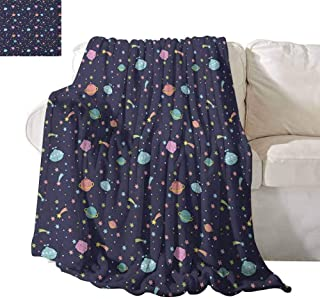 SONGDAYONE Camping Blanket Space Will not Fade Alien Planets with Shooting Stars and Polka Dots Galaxy Heavenly Bodies Asteroid W60 x L80 Multicolor