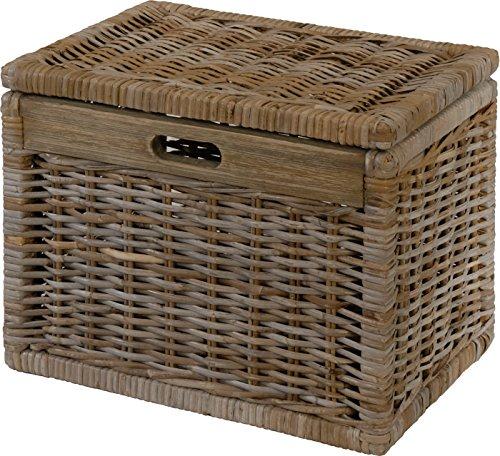 Korb mit Deckel Rattan aus echtem, ungeschältem Rattan geflochten Farbe Grau, Regalkorb, Aufbewahrungsbox