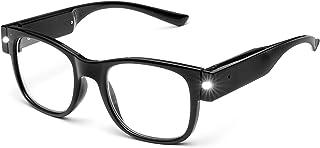 Tide USB Rechargeable Led Reading Glasses Smart Lighted Eyewear for Women Men (Black, 2.0X)