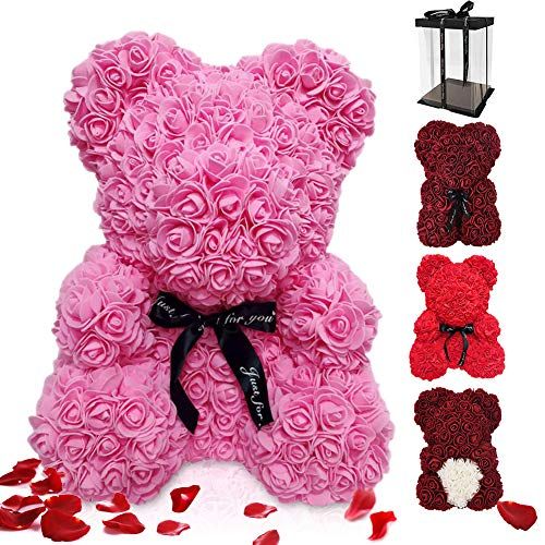 Asanmu - Oso de rosa eterna, regalo para mamá y mujer, oso artificial para regalo con caja, regalo de vacaciones para San Valentín, día de la madre, cumpleaños, 25 cm, rosa