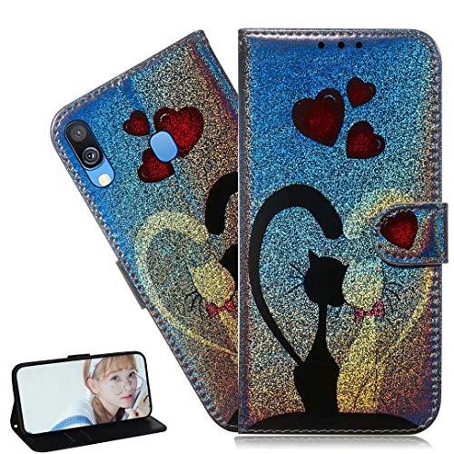 HMTECH Galaxy A50 Hülle,Für Samsung Galaxy A50 Handyhülle Bling Glitzer Liebes-Katze Blumen Flip Case PU Leder Cover Magnet Schutzhülle Tasche Ständer Handytasche für Samsung Galaxy A50,TX LP Love Cat