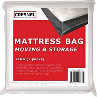 CRESNEL 4-Mil Commercial Heavy Duty/Super Strong Clear Mattress Plastic Bag Cover Sheet Storage (Different Quantity/Size S...